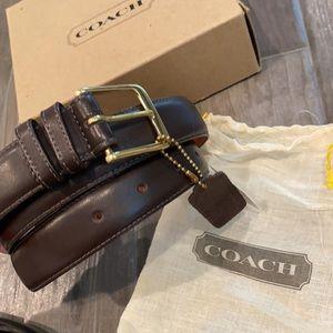NWT Coach Men's Dark Brown Leather Belt